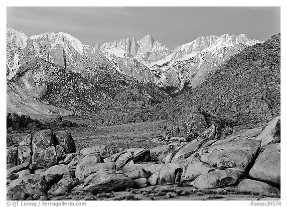 Volcanic boulders in Alabama hills and Mt Whitney, dawn. Sequoia National Park (black and white)