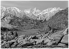 Volcanic boulders in Alabama hills and Mt Whitney, dawn. Sequoia National Park ( black and white)