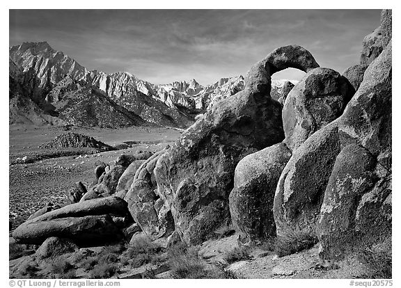 Rock arch and Sierra Nevada range with Mt Whitney, morning. Sequoia National Park (black and white)