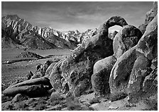 Rock arch and Sierra Nevada range with Mt Whitney, morning. Sequoia National Park, California, USA. (black and white)