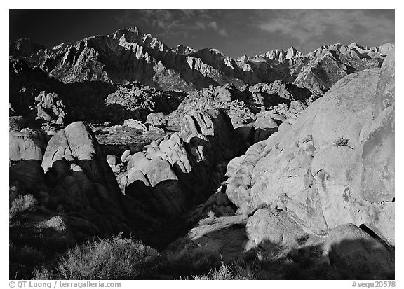 Alabama hills and Sierras, early morning. Sequoia National Park (black and white)