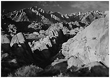 Alabama hills and Sierras, early morning. Sequoia National Park, California, USA. (black and white)