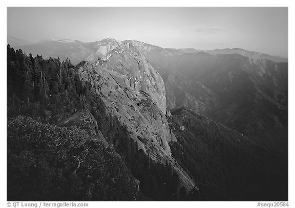 Moro Rock, dusk. Sequoia National Park (black and white)