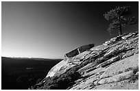 Granite Slab, sunrise. Sequoia National Park, California, USA. (black and white)