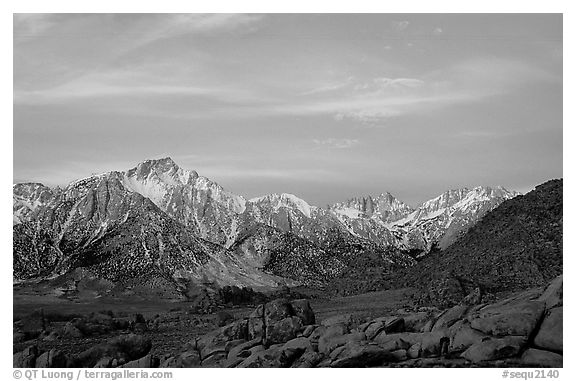 Alabama hills and Sierras, winter sunrise. Sequoia National Park (black and white)
