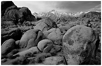 Alabama hills and Sierras, winter morning. Sequoia National Park, California, USA. (black and white)