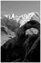 Alabama hills arch I and Sierras, sunrise. Sequoia National Park, California, USA. (black and white)