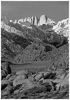 Alabama hills and Mt Whitney. Sequoia National Park ( black and white)