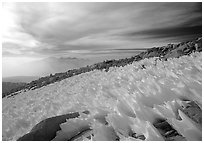 Windblown snow formations near the summit of Mt Whitney. Sequoia National Park, California, USA. (black and white)