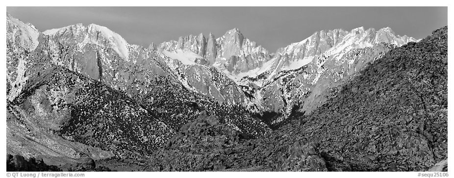 Mount Whitney at dawn. Sequoia National Park (black and white)