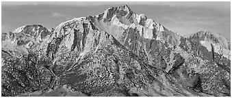 Lone Pine Peak, winter sunrise. Sequoia National Park (Panoramic black and white)