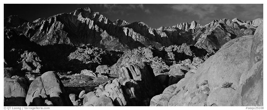 Boulders and Sierra Nevada. Sequoia National Park (black and white)