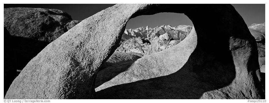 Arch and mountains. Sequoia National Park (black and white)
