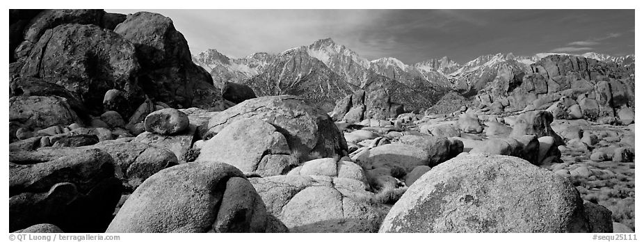 Alabama Hills boulders and Sierra Nevada. Sequoia National Park (black and white)