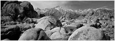 Alabama Hills boulders and Sierra Nevada. Sequoia National Park (Panoramic black and white)