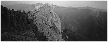 Moro rock. Sequoia National Park (Panoramic black and white)