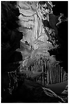 Subterranean passage with ornate cave formations, Crystal Cave. Sequoia National Park, California, USA. (black and white)