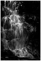 Waterfall with water shining in spot of sunlight, Cascade Creek. Sequoia National Park ( black and white)