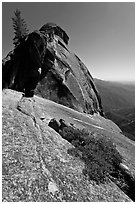 Granite slab, Moro Rock. Sequoia National Park, California, USA. (black and white)