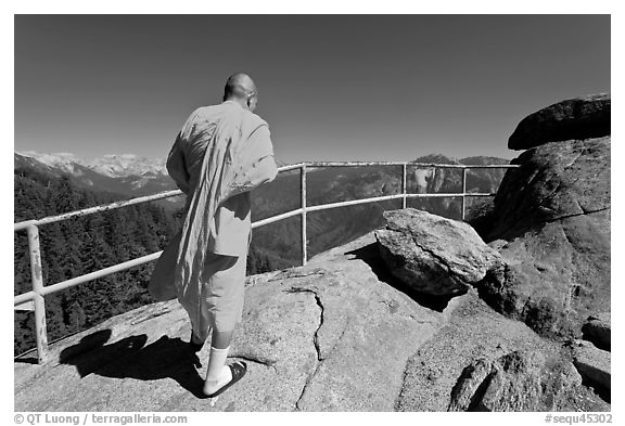 Buddhist Monk on Moro Rock. Sequoia National Park (black and white)