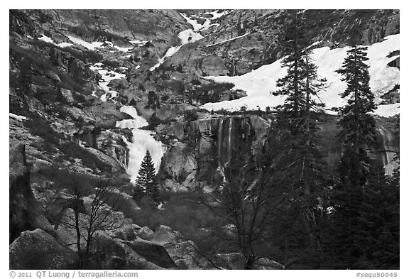 Tokopah Falls cascading down cliffs for 1200 feet. Sequoia National Park (black and white)