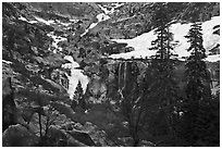 Tokopah Falls cascading down cliffs for 1200 feet. Sequoia National Park, California, USA. (black and white)