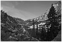 Alpine cirque, Marble Fork of the Kaweah River. Sequoia National Park, California, USA. (black and white)