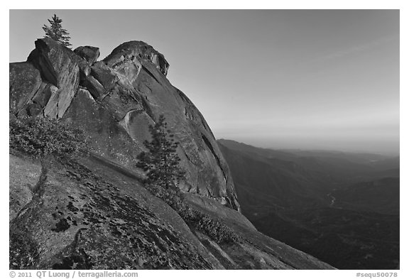 Moro Rock and Kaweah River valley at sunset. Sequoia National Park (black and white)