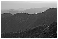 Forested ridges at sunset seen from Moro Rock. Sequoia National Park ( black and white)