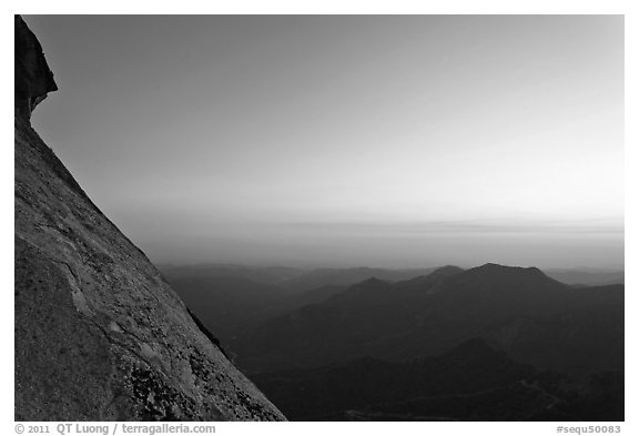 Moro Rock profile and foothills at sunset. Sequoia National Park (black and white)