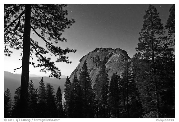 Moro Rock at night. Sequoia National Park (black and white)