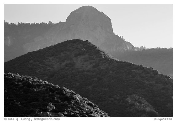 Hills below Moro Rock. Sequoia National Park (black and white)