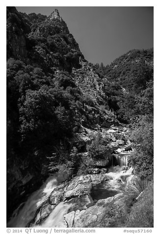 Marble fork of Kaweah River in deep canyon. Sequoia National Park (black and white)