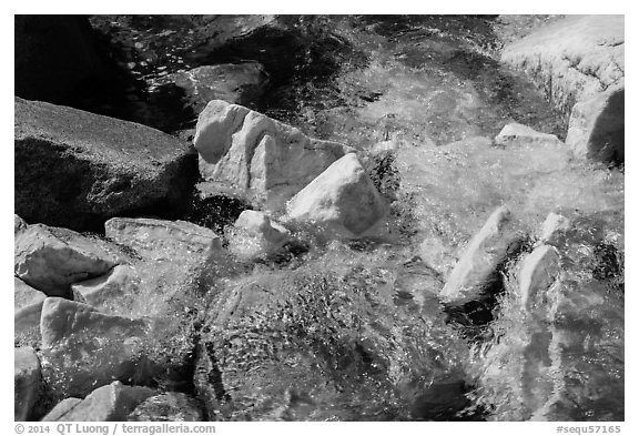 Marble rocks in Marble fork of Kaweah River. Sequoia National Park (black and white)