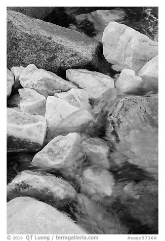 Marble rocks in river. Sequoia National Park (black and white)