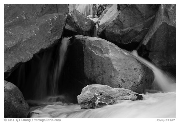 Boulders and cascades, Marble fork of Kaweah River. Sequoia National Park (black and white)