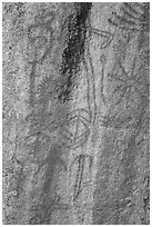 Vivid red pictographs, Hospital Rock. Sequoia National Park ( black and white)