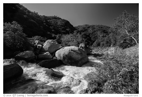 Middle Fork of Kaweah River near Hospital Rock. Sequoia National Park (black and white)