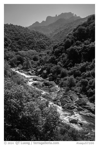 Middle Fork of the Kaweah River near Buckeye Flat. Sequoia National Park (black and white)