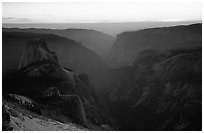 Half-Dome and Yosemite Valley seen from Clouds rest, sunset. Yosemite National Park, California, USA. (black and white)