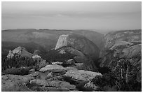View of Yosemite Valley from Clouds Rest at dawn. Yosemite National Park, California, USA. (black and white)