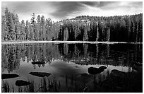 Boulders and reflections, Siesta Lake, afternoon. Yosemite National Park, California, USA. (black and white)