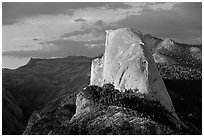 Half-Dome, sunset. Yosemite National Park, California, USA. (black and white)