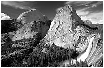 Nevada Falls and Liberty cap in summer. Yosemite National Park, California, USA. (black and white)