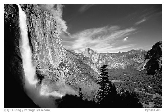 Upper Yosemite Falls with rainbow at base, early afternoon. Yosemite National Park (black and white)
