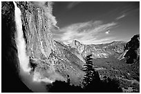 Upper Yosemite Falls with rainbow at base, early afternoon. Yosemite National Park ( black and white)