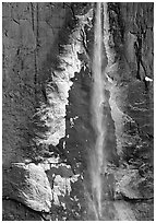 Ice crust on Yosemite Falls wall. Yosemite National Park ( black and white)