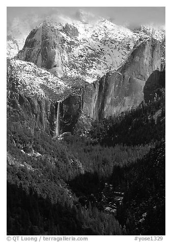 Bridalveil Falls and Cathedral rocks in winter. Yosemite National Park (black and white)