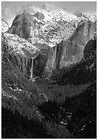 Bridalveil Falls and Cathedral rocks in winter. Yosemite National Park, California, USA. (black and white)