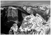View of  Valley from Dewey Point in winter. Yosemite National Park ( black and white)
